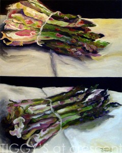 """Asparagus"" - one canvas, painted to look like two separate images"